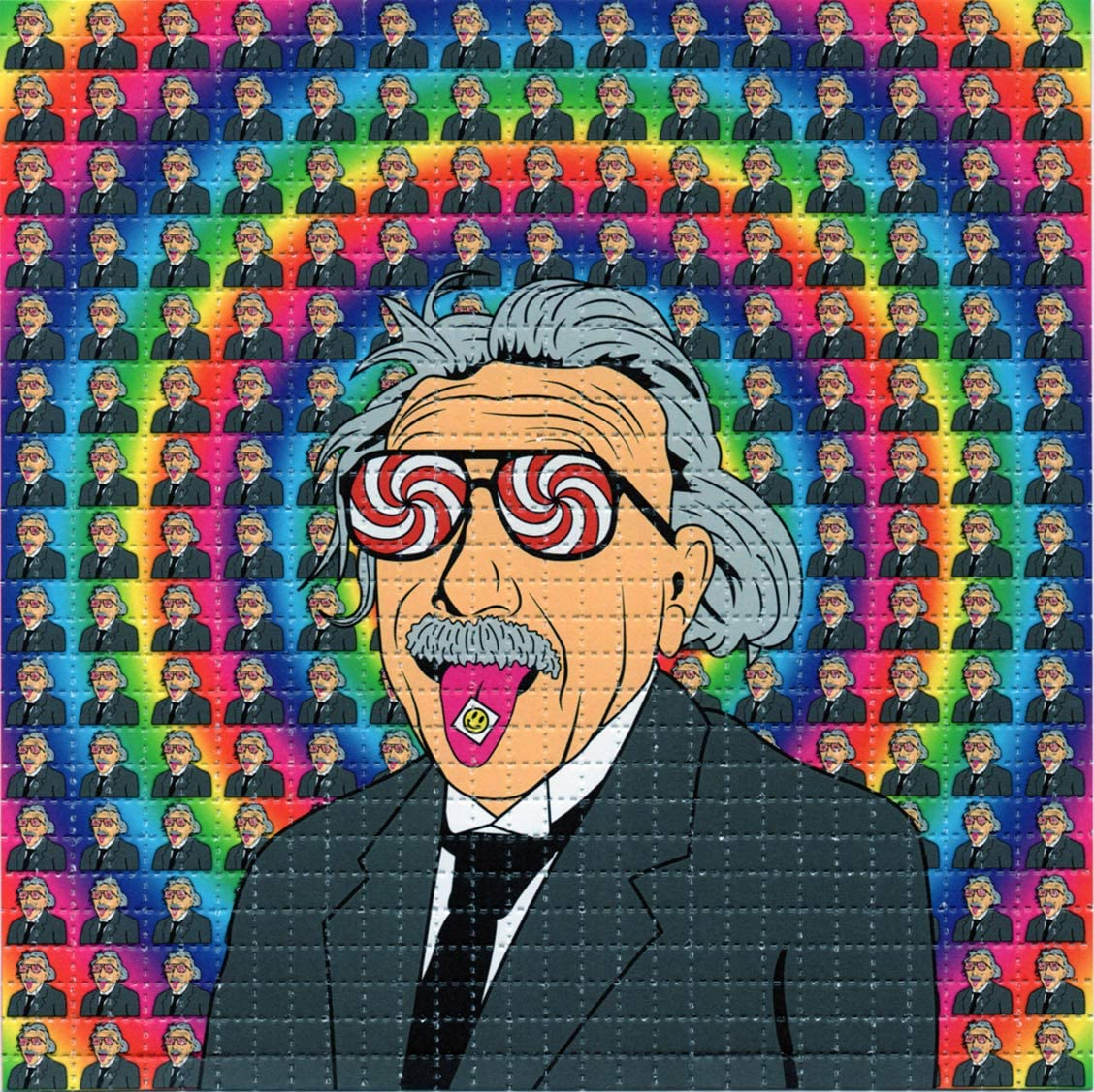 Depiction of sheet of LSD with image of Albert Hofmann with LSD on his tongue